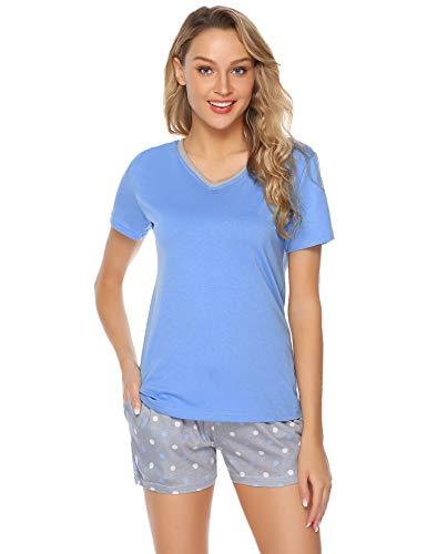 Aibrou Damen Pyjama Schlafanzug Baumwolle Kurz Streifen Nachtwäsche Nachthemd Hausanzug Set Kurzarm Rundhals-Ausschnitt für Sommer Hellblau M -