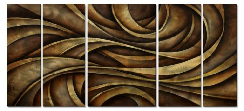 metal-wall-art-hanging-set-brushed-metal-artwork-abstract-wall-sculpture-by-michael-lang