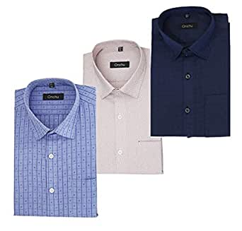 ONCHU Combo Pack of 3 Mens Full Shirt (36, Buffy)