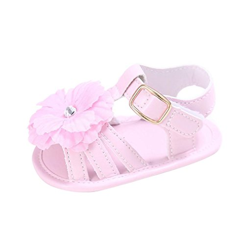 Zolimx Toddler Newborn Crib Shoes Prewalker sandals girl Anti Slip Flowers pearl Princess Baby Shoes (6~12 Month, Pink)