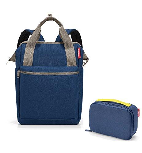 schönes reisenthel Outdoorset 2tlg. bestehend aus reisenthel Rucksack/Backpack/allrounder R und Isotasche/thermocase im trendigen Design black/schwarz (dark blue)