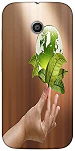 Snoogg Female Hand Holding Green Earth With A Growing Plant Designer Protecti...