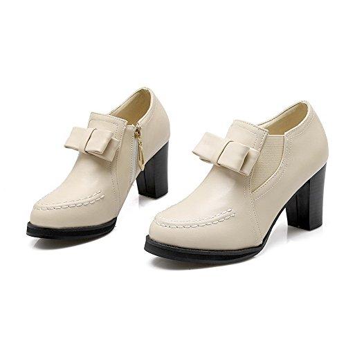 AgooLar Damen Reißverschluss Rund Schließen Zehe Hoher Absatz Rein Pumps Schuhe Cremefarben