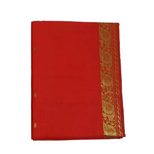 (indischerbasar.de Sari rot Goldbrokat traditionelle Bekleidung Indien Tracht Wickelanleitung Bindikärtchen)