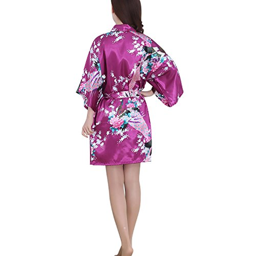 Dolamen Kimono Robe Femmes, Femmes Chemises de nuit Paon et fleurs, Robe peignoir en satin de soie Robe de nuit de demoiselle d'honneur pyjamas, Style court Violet