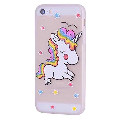iPhone 5/5s/5se hülle Einhorn TPU serie mattiert Glitter Star-Muster DECHYI handyhülle.-Matt (Schuhe Glitter Rosa Spitzen)