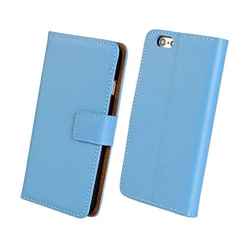 AMEEGO iPhone 5C Echtes echtes Leder Brieftasche Flip Case mit Tan Innen, Ständer, Kartenfächer und Magnetverschluss Schlankes Design Notebook Flip Cover BLUE