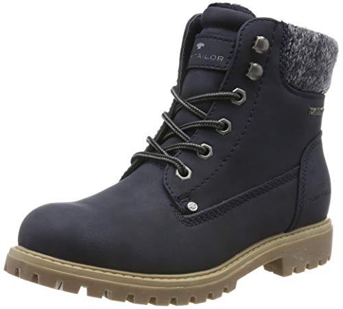TOM TAILOR für Frauen Schuhe Schnür-Boots mit Stoff-Einsatz Navy, 36