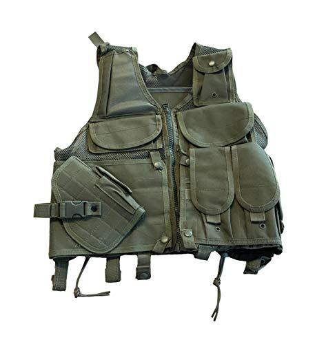 Taktische Militär Armee Weste vielen Taschen für Magazine, Strafzettel - Schutz vor Softair Kugeln - Passend für Kinder, Jungendliche, Schmale Herren, Frauen für Fasching, Karneval, Softair Skirmish -