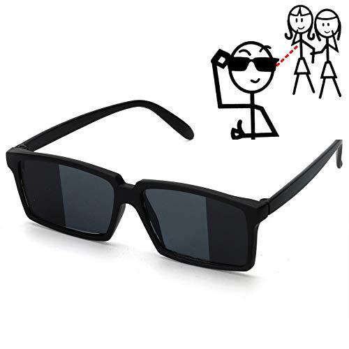 WWVAVA Party Brille Zu sehen hinter Spy Sonnenbrille Neuheit Shades mit Spiegel an den Seitenenden Lustige Kostüm Brille Zubehör für Kinder & Erwachsene, schwarz