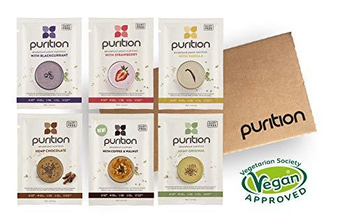 Purition - Natürliches, Veganes Hanf Protein Pulver und Mahlzeitenersatz, Probierpaket mit 6 Geschmacksrichtungen -