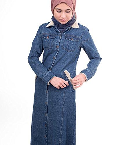 Silk Route©, abito abaya in jeans allacciato sul davanti, in cotone morbido, stile urbano, maxiabito, jilbab Winter Denim
