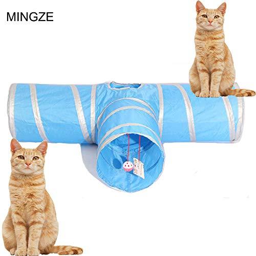MINGZE Giocattolo Cat-Tunnel Tipo T, Tipo Y, Tipo Dritto, Giocattolo Pieghevole a 3 Vie, per Conigli, Gattini e Cani (Tipo T)