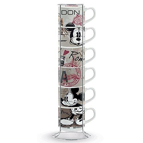 Disney Walt PWM02I/6XY Set Tazze Caffe, Modello in The City e Metalrack, Porcellana, 7 unità