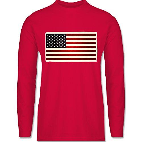 Shirtracer Kontinente - Flagge USA - Herren Langarmshirt Rot
