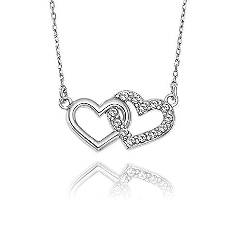 Lilly Marie Young–Chaîne Argent 925Double pendentif cœur Swarovski incolore Satin Sac Idée Cadeau pour une meilleure amie