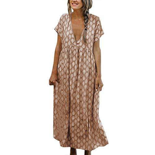 Kleid Große Größen Druckkleid Lose Luftiges Maxikleid Deep V-Ausschnitt Langes Kleid Casual Beiläufiges Kleid für Freizeit Leichtes Weiches Bequem Kleid (Khaki, EU-38/CN-S) ()