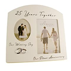 Idea Regalo - Cornice ricordo multi foto per 25° anniversario di matrimonio, regalo per nozze d'argento (con scritte in inglese)