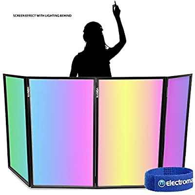 Vonyx White Foldable DJ Booth Lighting Screen 4 Panel Facade