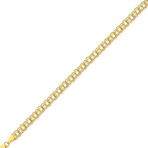 Or 14carats-Bracelet double lien Charme-Homard Griffe-Longueur Options: 1820