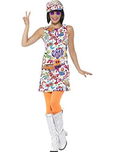 Smiffys Damen 60er Jahre Groovy Chick Kostüm, Kleid und Hut, Größe: 40-42, 44911
