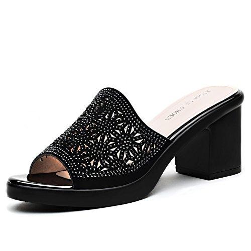 Tacchi alti di estate con ciabatte fredde delle signore/Outside indossare sandali luminosi A
