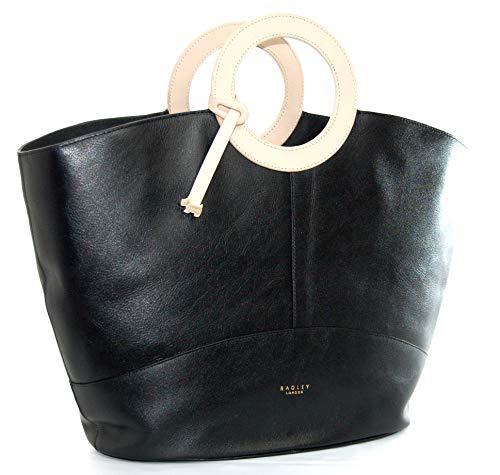 Radley Handtasche aus Leder, groß, mit cremefarbenen Ledergriffen, Schwarz