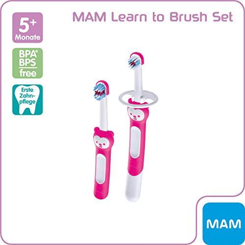 MAM Learn to Brush Set, Baby Zahnbürste mit langem Griff zum gemeinsamen Halten, Kinderzahnbürste trainiert das Zähneputzen, ab 6+ Monate, rosa