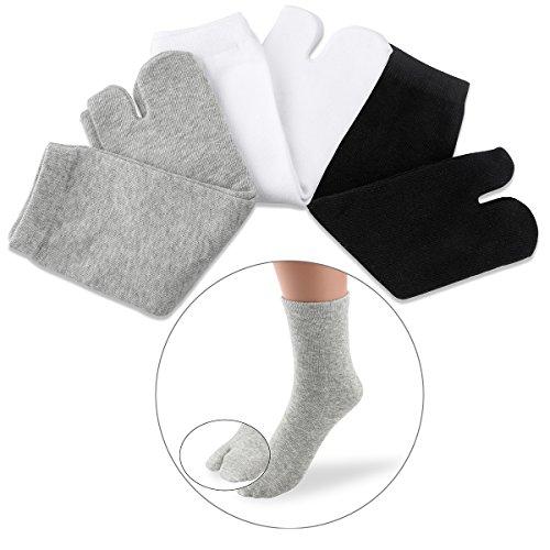 NUOLUX 3pcs Elastische Zehe Socken Baumwolle Tabi Socken für Frauen-Männer Weiß + Grau + Schwarz