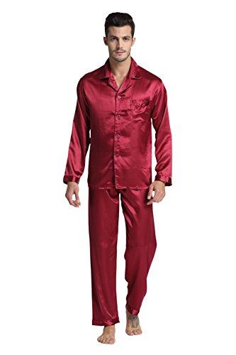 Tony & Candice Herren Pyjama Lang Klassische Satin Schlafanzug (XL, Burgund)