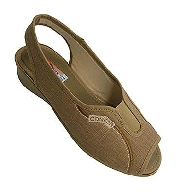 Femme chaussures à bout ouvert et bande de talon derrière Kuass en bronzage taille 41