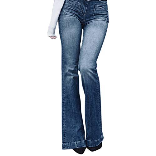 8b0b4ba5dc252a SODIAL Jeans A Vita Alta A Vita Alta Jeans Svasati A Gamba Larga Pantaloni  A Zampa