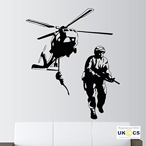 Armee-Hubschrauber Soldat Gewehr Militär Schlafzimmer-Wand-Kunst-Aufkleber-Abziehbild-Vinyl Raum Schlafzimmer Jungen Mädchen Kinder Erwachsene Heim Zitate Küche Badezimmer Accessoires Mural (Militär-abziehbild-aufkleber)
