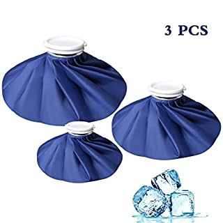 Kuou 3 Pack Ice Bag,ice bag for injuries,Reusable First Aid Ice Bag, Hot And Cold Reusable Ice Bag, First Aid Therapy Packs Relief and Reduce Sports Injuries, Deep Blue(11