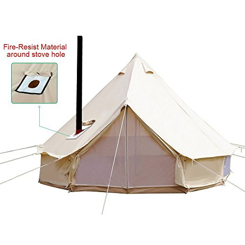 sporttent 4-season bell tent glamping waterproof cotton with roof stove jack hole for camping hiking christmas party beige