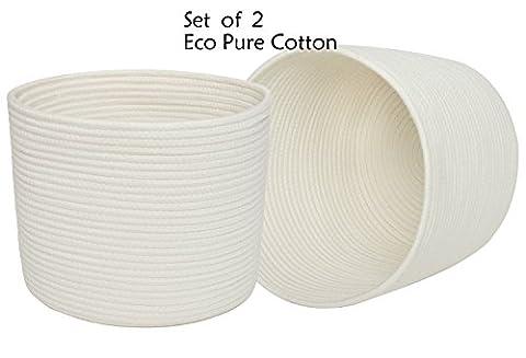 Clearance Sale Grands paniers de rangement de corde de coton avec des poignées, ensemble de l