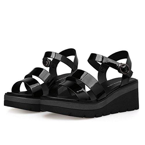 Damen Sandalen Schnalle Keilabsatz Spiegelleder Dicke Sohle Römische Stil Modische Schuhe Schwarz