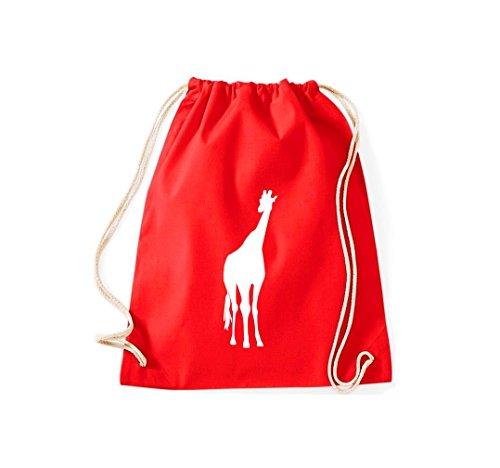 Turnbeutel; Tiermotiv Giraffe, Savanne, Wildlife; Farbe Rot - Kuscheltier 36 Giraffe
