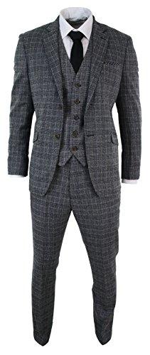 Herrenanzug Vintage Retro Grau Fischgräte Tweed Design 3 Teilig Eng Tailliert (Tweed Vintage-anzug)