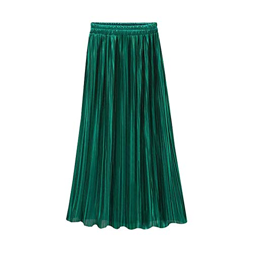 osmanthusFrag Women Loose Elastic Waist Pleated Full Long Skirt Maxi Solid Color - Dark Green One Size
