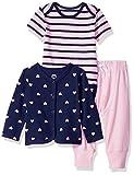 Amazon Essentials Baby Strickjacke für Mädchen, 3-teilig, Girl Heart, US 0-3M (EU 56-62)