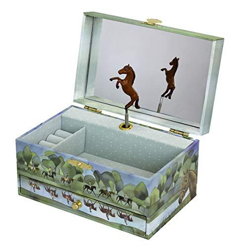 Trousselier 60620 - Pferde-Spieluhr Brown Horses (Spieldose, Musikdose, Spieluhren, Spieluhr mit Pferd)