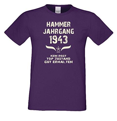Geschenk Set : Geschenkidee 74. Geburtstag ::: Hammer Jahrgang 1943 ::: Herren T-Shirt & Urkunde Geburtstagskind des Jahres für Ihren Papa Vater Opa Großvater ::: Farbe: schwarz Lila