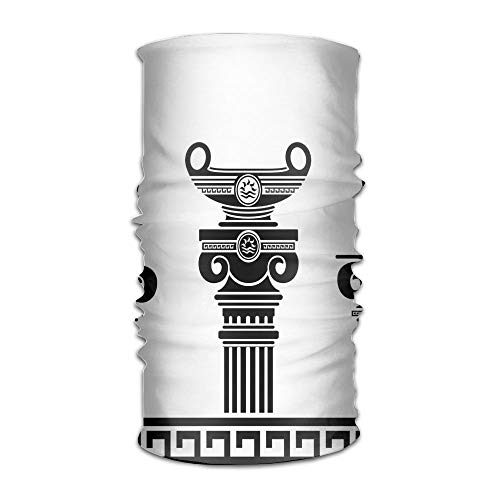 Womens Man Turban Set of Hellenic Vases and Ionic Columns Artistic Design Fashion Headkerchief Cobra Vase