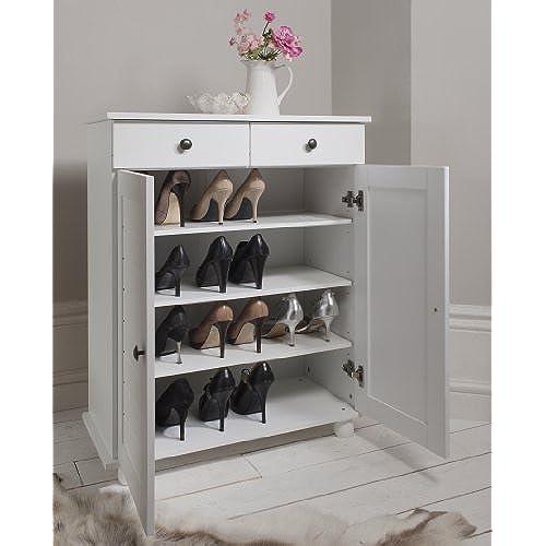Shoe Storage Cabinet Deluxe With Storage Drawer Heathfield In White