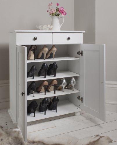 Zapatero tipo armario de lujo con cajón de almacenamiento, color blanco