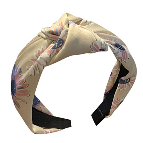 kolila Damen Billig Stirnband Clearance!!!Boho Blumendruck Stretchy Wide-Krempe Cross Twisted Haarband Zubehör Haarspangen Stirnbänder(Beige)