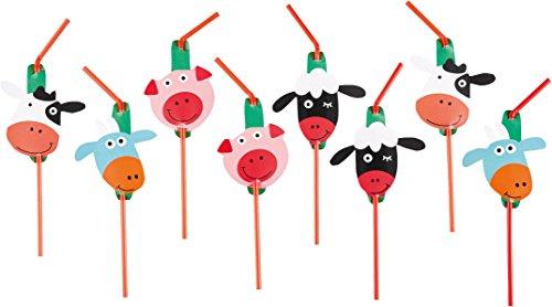 8 Trinkhalme * FARM FUN * mit Sticker und Trinkknick für Kindergeburtstag oder Mottoparty // Kinder Geburtstag Party Strohhalme Straws Bauernhof Farm Scheune Tiere Vögel
