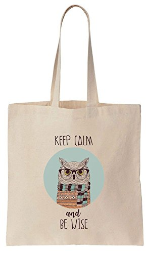 Keep Calm And Be Wise Smart Hipster Owl Round Design Tote Bag Baumwoll Segeltuch Einkaufstasche (Tote Baumwolle Oversized)