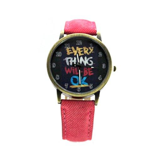 """HuntGold Vintage """"Everything Will Be OK"""" Sprichwort Quarz Zeit Zeiger PU-Band Armbanduhr (Rot)"""